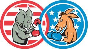 Republican elephants and democrat donkey boxing