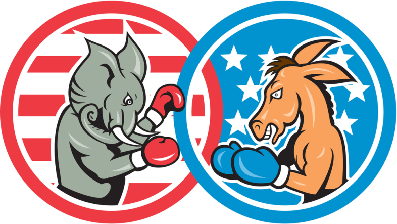 Republican elephants and democrat donkey boxing