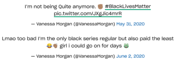 Two+tweets+from+Vanessa+Morgan+%28actress%29+about+the+BLM+movement