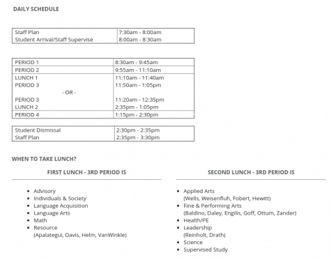 Daily schedule for Hybrid & CDL at Mountainside