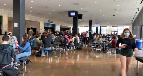 Students eating in the lunchroom.